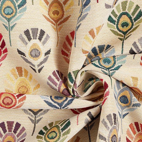 Tissu de décoration Gobelin Plumes de paon – nature