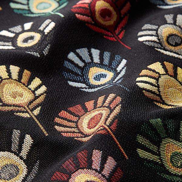 Tissu de décoration Gobelin Plumes de paon – noir