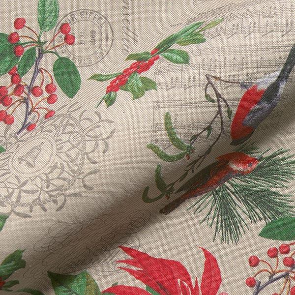 Dekostoff Halbpanama Weihnachtsstern & mehr – natur