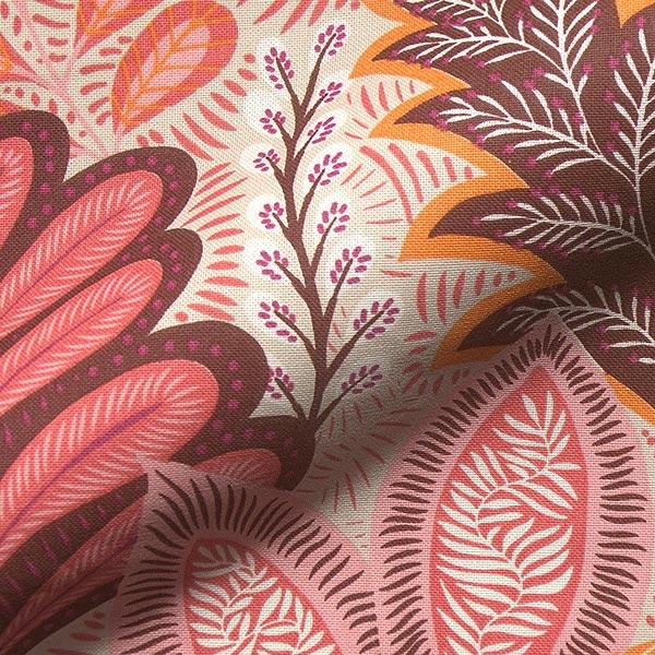 Dekostoff Halbpanama Botanic – rosa
