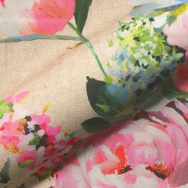 Dekostoff Halbpanama Digitaldruck Rosenaquarell – natur