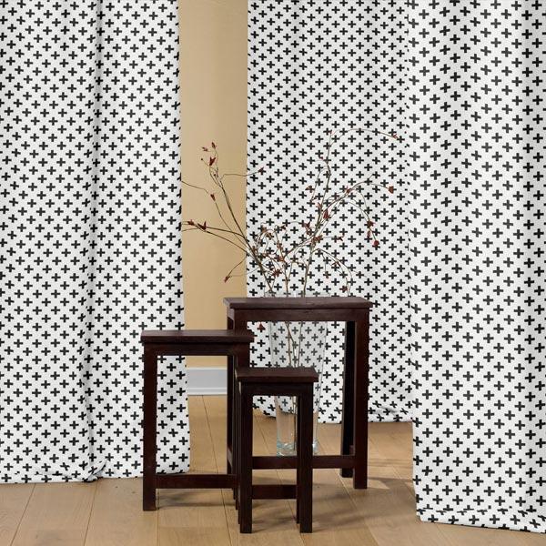 Tissu de décoration Triangles - noir/blanc