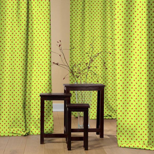 Tissu de décoration Canvas Fraises rouges – vert pomme