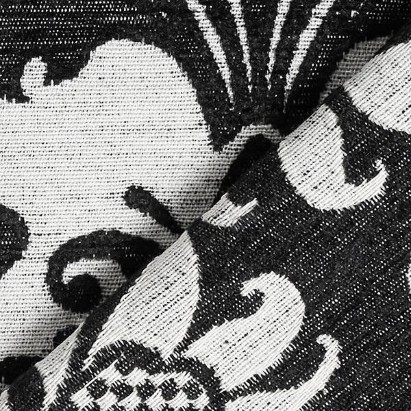 Tissu de décoration Chenille Jacquard Grandes fleurs baroques – noir/écru