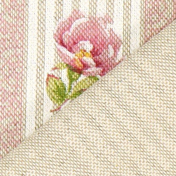 Dekostoff Natur – Rosen und Streifen rosa