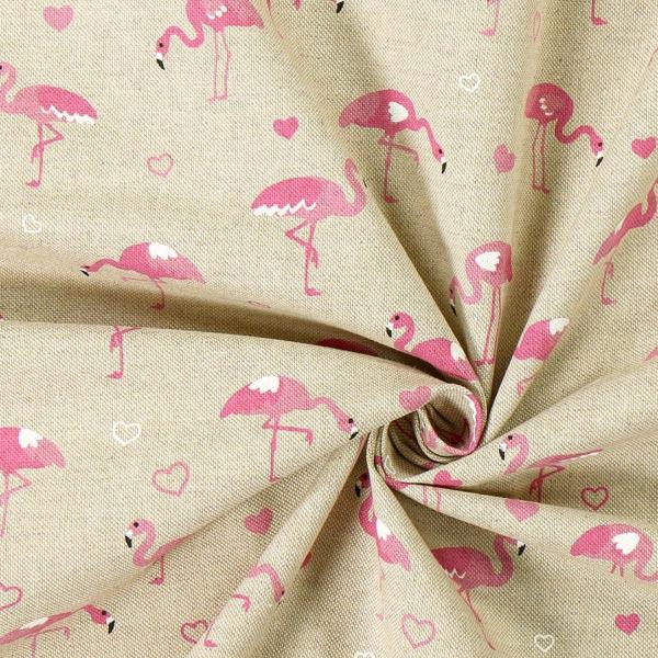 Tissu de décoration Semi-panama Flamant Amour – nature