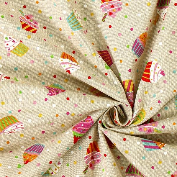 Tissu de décoration nature – Muffins multicolores