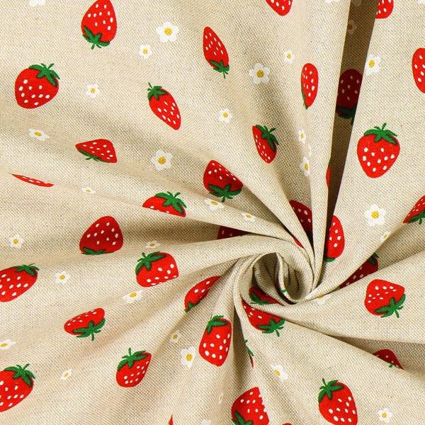 Tissu de décoration Semi-panama Fraises et petites fleurs – nature