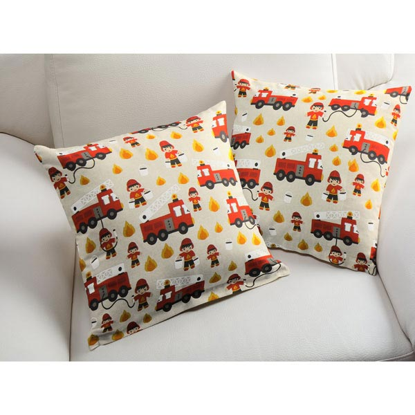 Tissu de décoration Semi-panama Pompiers – nature