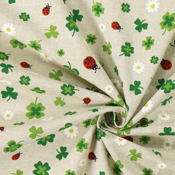 Tissu de décoration Semi-panama Trèfles – nature