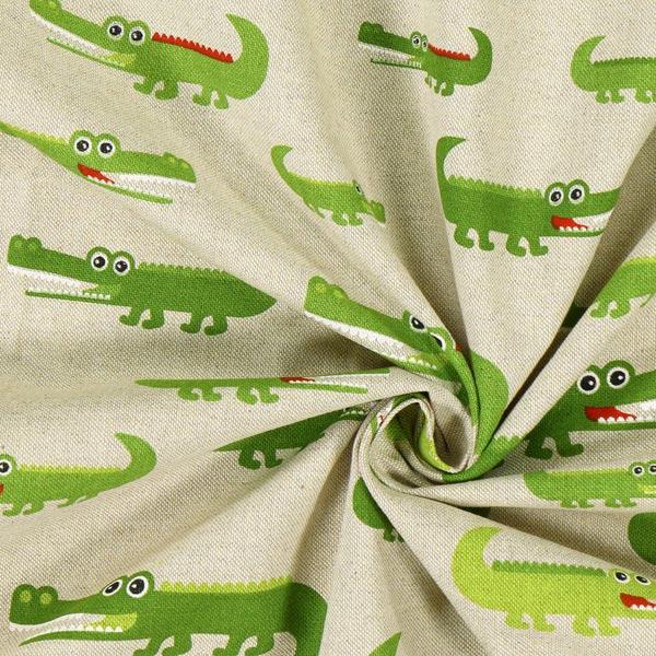Tissu de décoration Semi-panama Crocodiles – nature