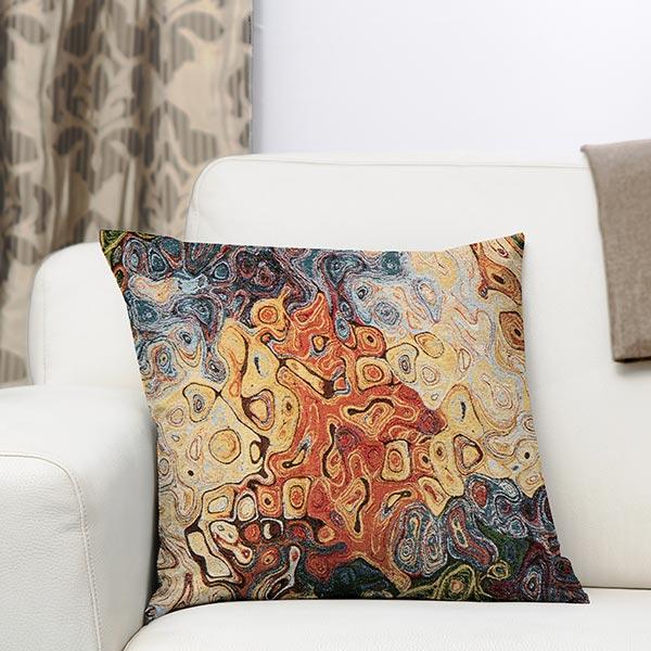 Jacquard Gobelin Art abstrait – bleu/rouge/jaune