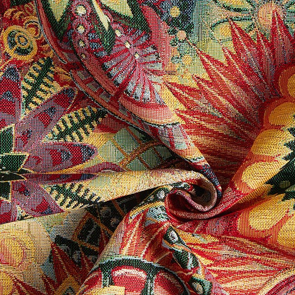 Jacquard Gobelin Ornement floral – lilas/rouge