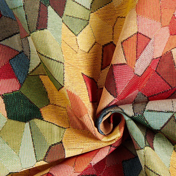 Jacquard Gobelin Geometric – jaune/rouge/orange