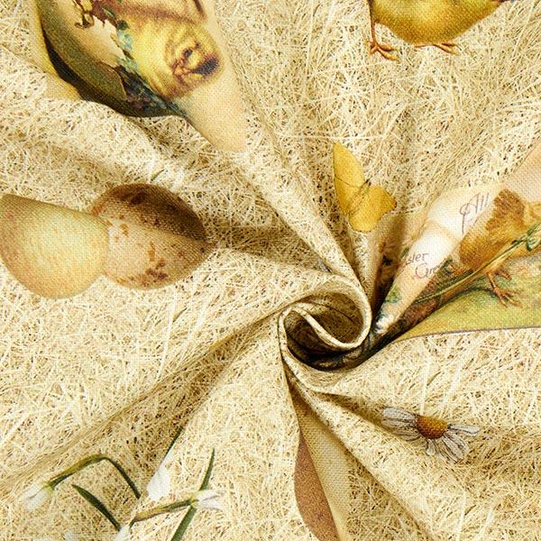 Semi-panama coton Motif de Pâques Paille – beige foncé