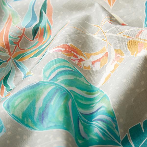 Tissu d'extérieur Feuilles tropicales – corail