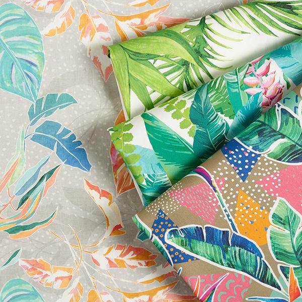 Outdoorstoff Tropische Blätter – koralle