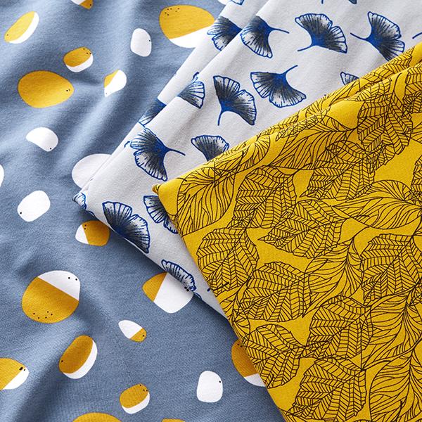 Tissu sweatshirt Dessin de feuilles – curry