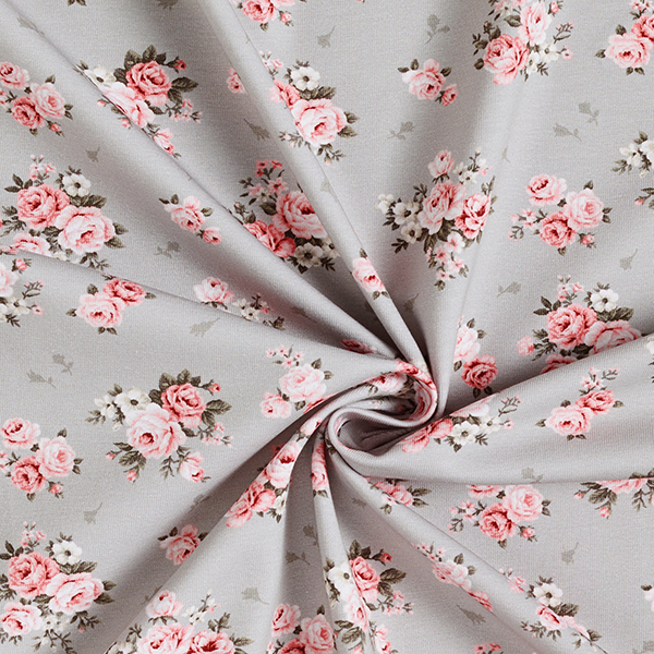 Jersey coton Roses – gris