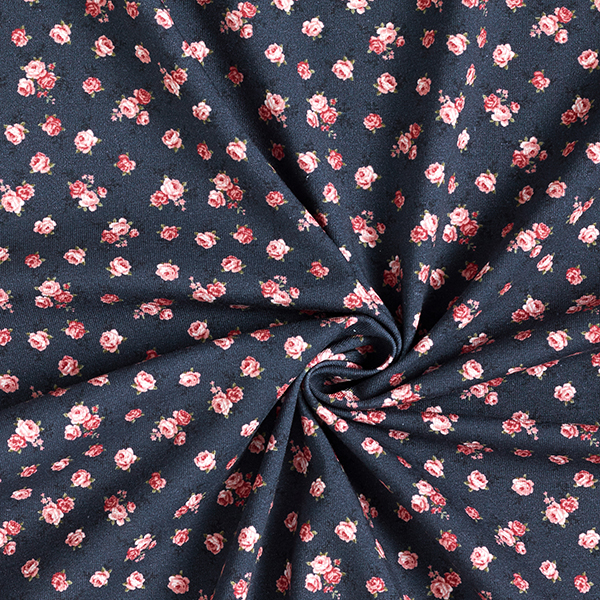 Jersey coton Petites roses – bleu marine
