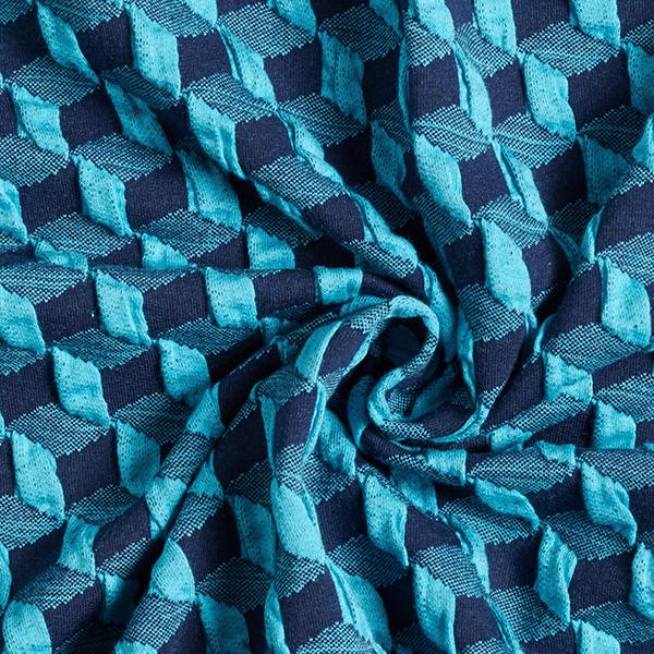 PLAIN STITCHES Diced Cloqué Jersey GOTS – bleu aqua/bleu marine | Albstoffe | Hamburger Liebe