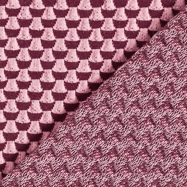 SWEET HOME Jacquard Jersey Double 3D GOTS – rouge bordeaux/rose | Albstoffe | Hamburger Liebe