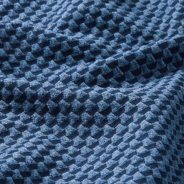 SWEET HOME Jacquard Jersey Double 3D GOTS – bleu marine/bleu jean | Albstoffe | Hamburger Liebe