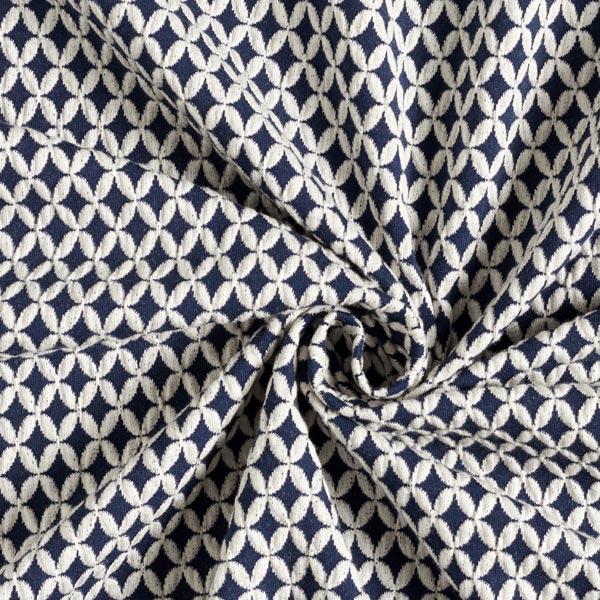 SAKURA Jacquardjersey 3D Shippou Knit GOTS – marineblau | Albstoffe | Hamburger Liebe