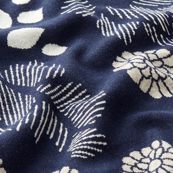 SAKURA Strickjacquard Yukata GOTS – marineblau | Albstoffe | Hamburger Liebe