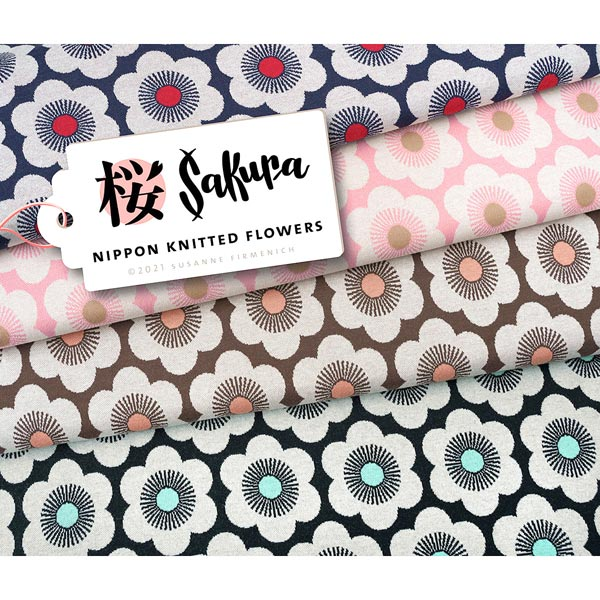 SAKURA Strickjacquard Nippon Knitted Flowers GOTS – rosa   Albstoffe   Hamburger Liebe