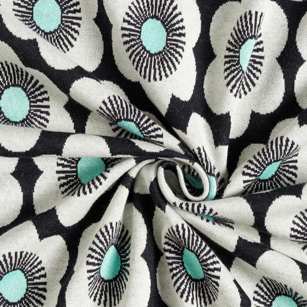 SAKURA Strickjacquard Nippon Knitted Flowers GOTS – schwarz | Albstoffe | Hamburger Liebe