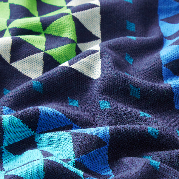 PLAIN STITCHES Cozy Plaid Jacquard Jersey GOTS – bleu/vert   Albstoffe   Hamburger Liebe