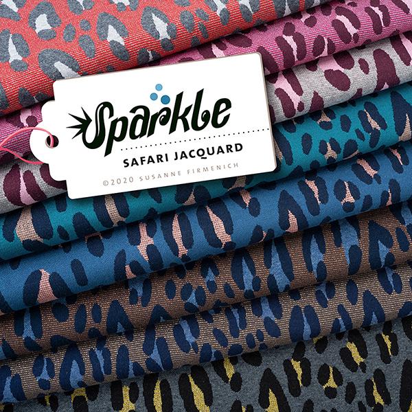 SPARKLE Jacquard maille Safari – bleu jean/rosé | Albstoffe | Hamburger Liebe