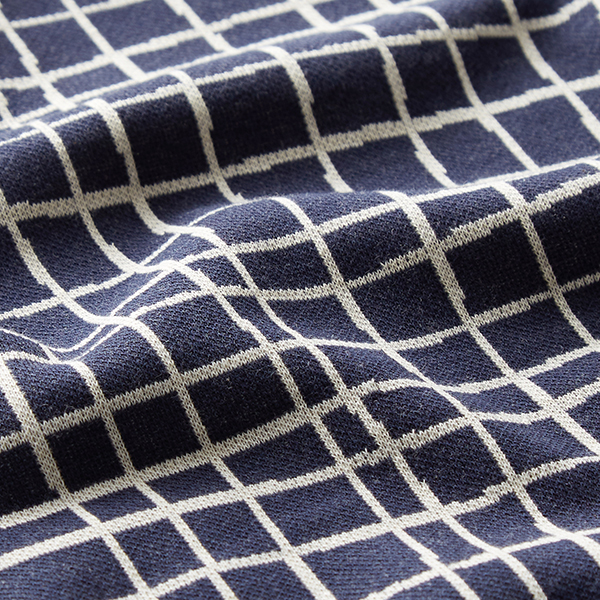 LIFE LOVES YOU Jacquard maille Grid GOTS – navy | Albstoffe | Hamburger Liebe