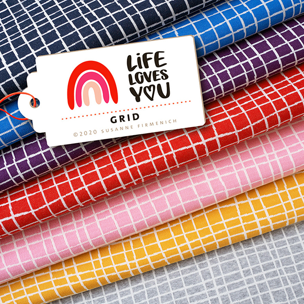 LIFE LOVES YOU Jacquard maille Grid GOTS – rouge | Albstoffe | Hamburger Liebe