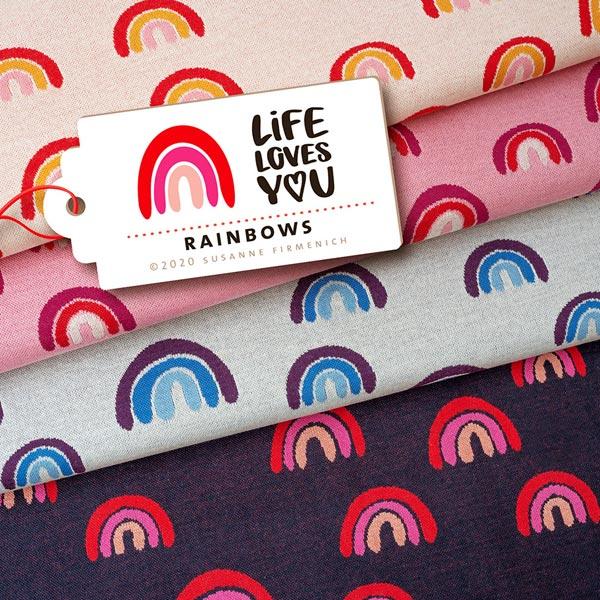 LIFE LOVES YOU Jacquard maille Rainbows GOTS – bleu marine | Albstoffe | Hamburger Liebe