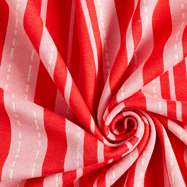 Jacquard maille BLOOM Pin Stripes GOTS – rouge | Hamburger Liebe