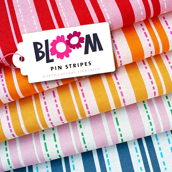 Jacquard maille BLOOM Pin Stripes GOTS – rose | Hamburger Liebe