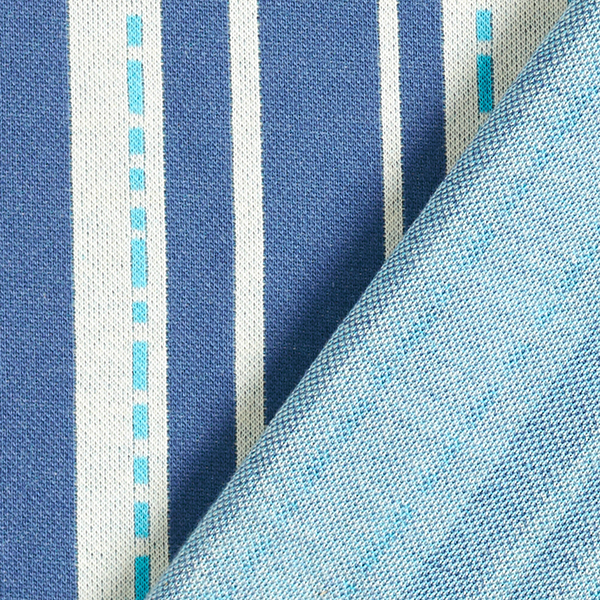 Jacquard maille BLOOM Pin Stripes GOTS – bleu | Albstoffe | Hamburger Liebe
