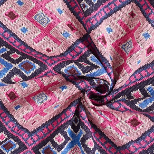 ORIENT OXIDENT Maille Jacquard Magic Carpet GOTS – bleu marine/rose | Hamburger Liebe