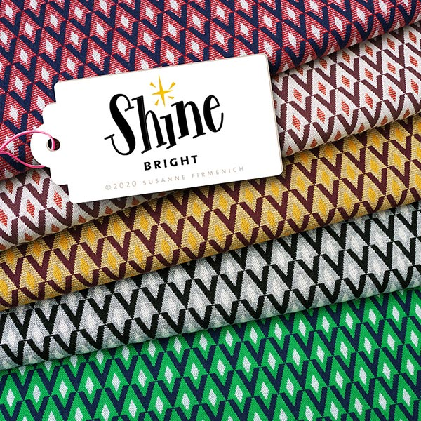 SHINE Strickjacquard Shine Bright mit Soft-Touch Lurex – wollweiss/bordeauxrot | Albstoffe |