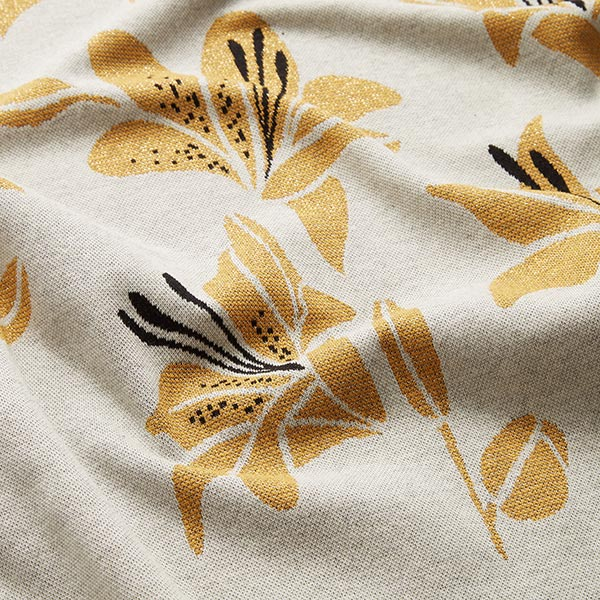 SHINE Strickjacquard Like A Lily mit Soft-Touch-Lurex – wollweiss | Albstoffe | Hamburger Liebe
