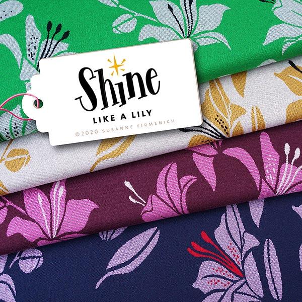 SHINE Strickjacquard Like A Lily mit Soft-Touch-Lurex – marineblau   Albstoffe   Hamburger Liebe