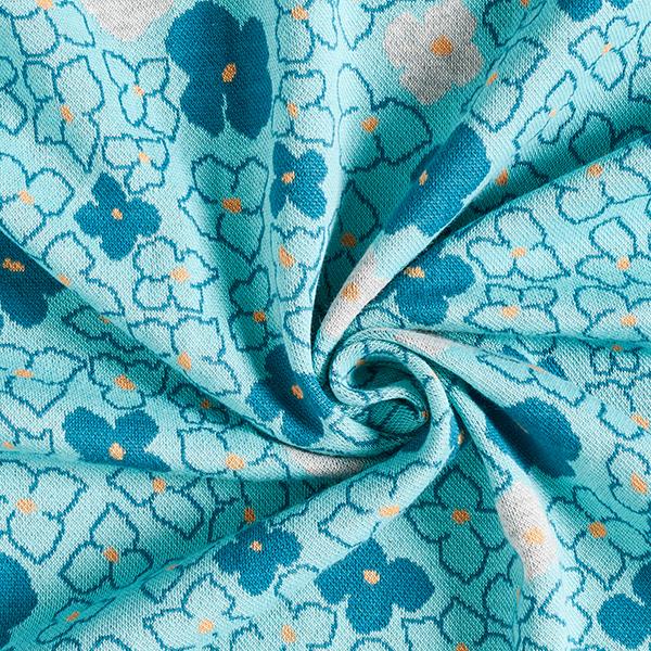 REMEMBER ME Jacquard maille Fleurs Forget-Me-Not GOTS – bleu aqua/pétrole | Albstoffe