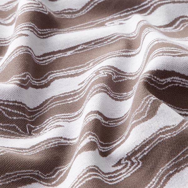 OCEAN LOVE Jacquard maille Vagues GOTS – marron/blanc   Albstoffe