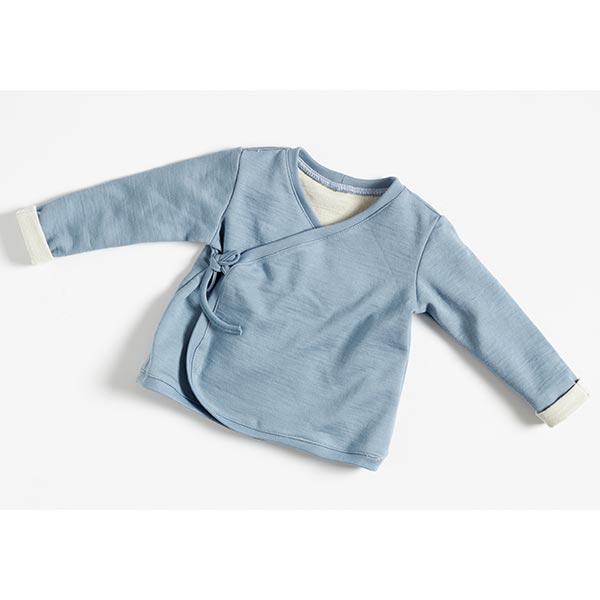Jersey coton-laine double face GOTS   Albstoffe – gris bleu/nature