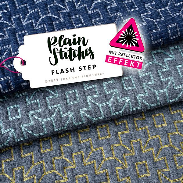 PLAIN STITCHES Reflektor Flash Step Cloqué Jersey – gris/bleu aqua | Hamburger Liebe