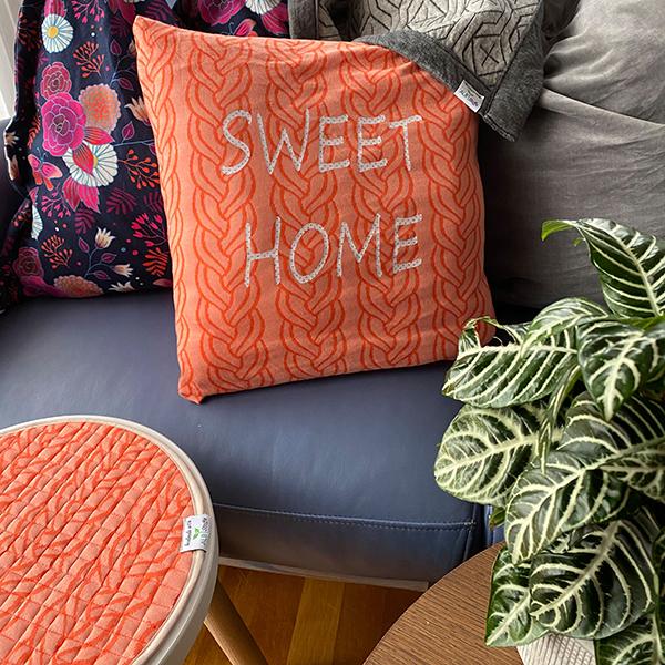 SWEET HOME Maille Jacquard Plait double face GOTS – orange | Albstoffe | Hamburger Liebe