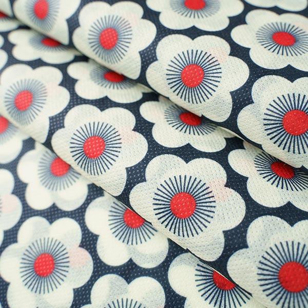 SHIELD CoverMe HEIQ Viroblock Nippon Flowers – marineblau/weiss   Albstoffe