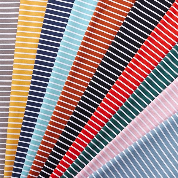Jersey coton bande GOTS – bleu aqua/blanc | Albstoffe